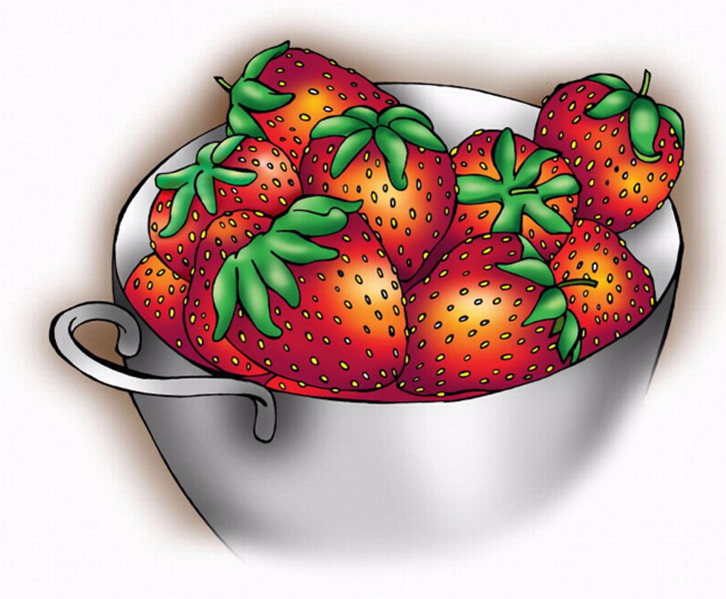 Fresh strawberries in a bowl : Stock Photo
