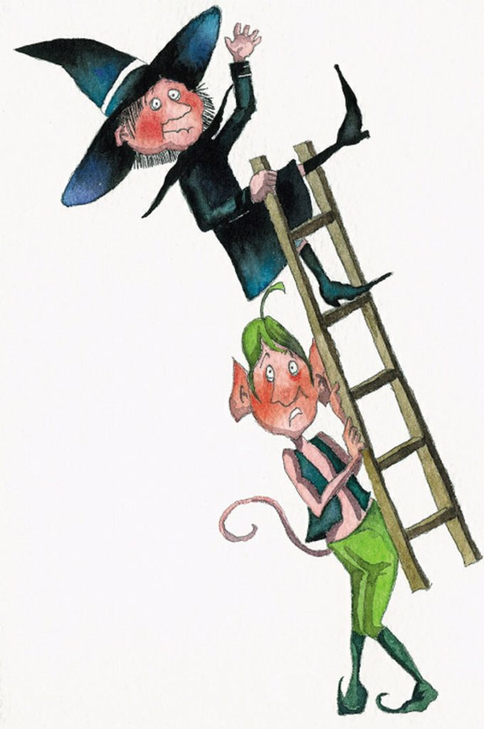 Elf carrying off a ladder with a witch on it : Stock Photo