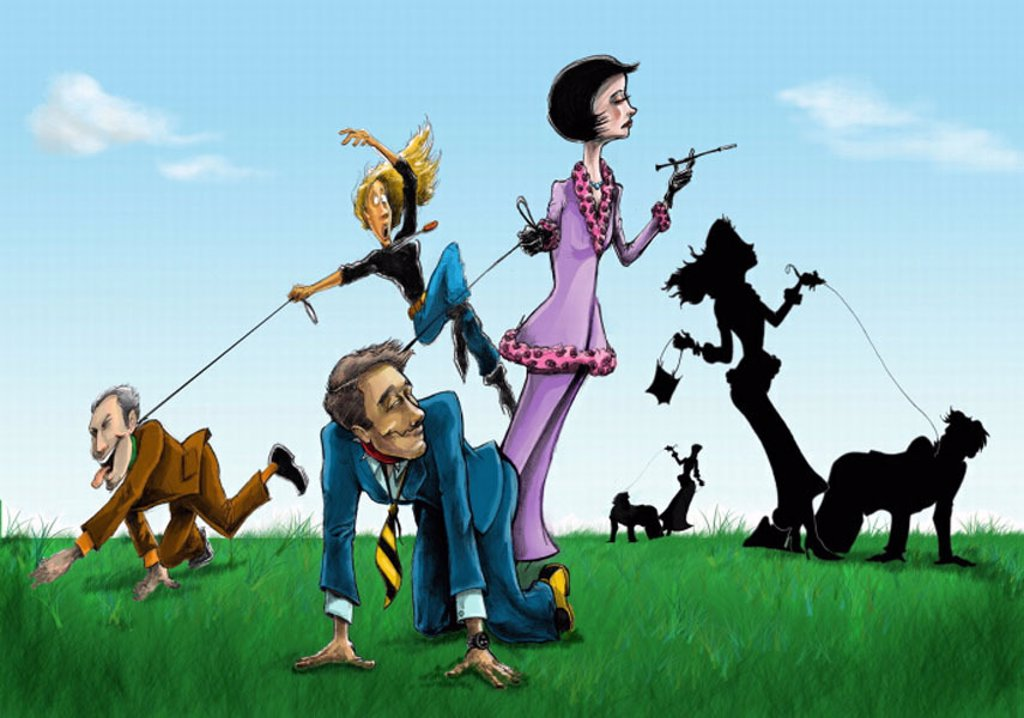 Women ´walking´ their men on a leash : Stock Photo