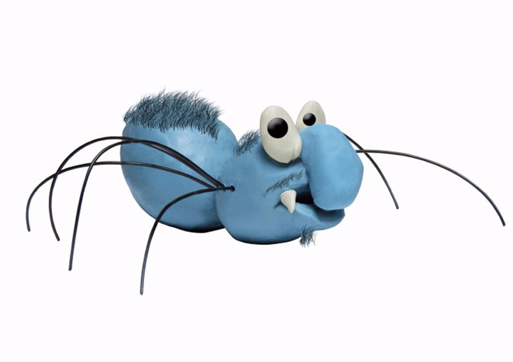 Blue hairy spider : Stock Photo