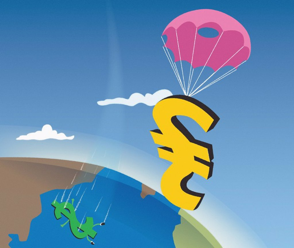British pound with a parachute while dollar falls : Stock Photo