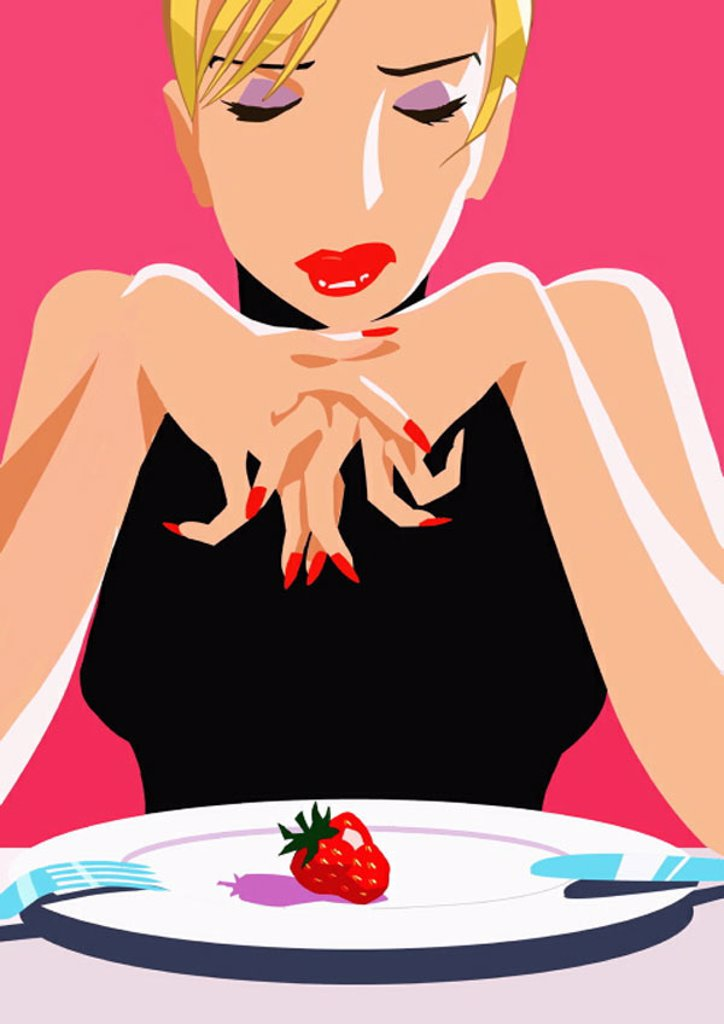 Stock Photo: 1843R-2284 Woman with one strawberry on her plate