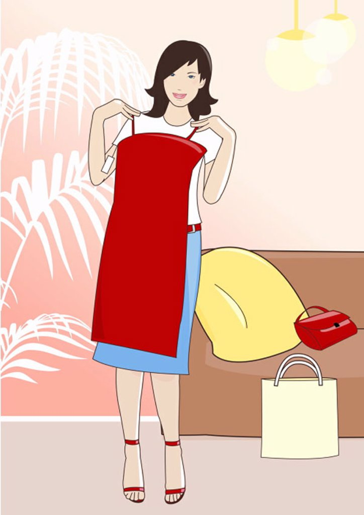 Young woman holding up a red dress in a clothes store : Stock Photo