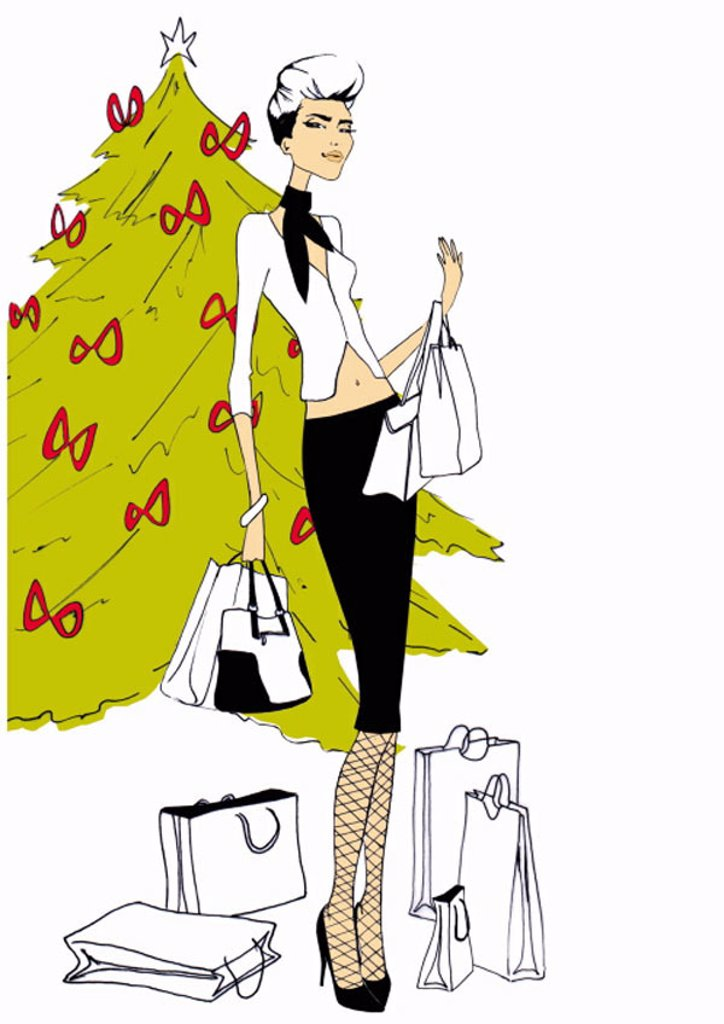 Fashionable woman with shopping bags in front of Christmas tree : Stock Photo