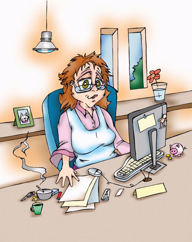 Woman at work at home office : Stock Photo