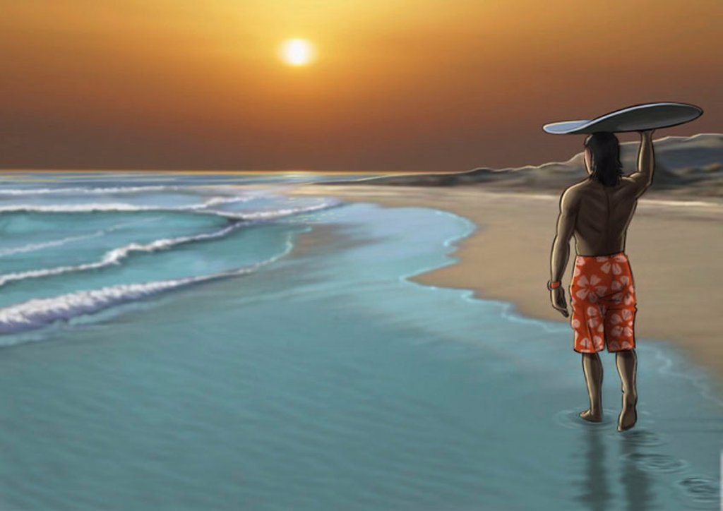 Stock Photo: 1843R-2607 Man watching the sunset with a surfboard balanced on his head
