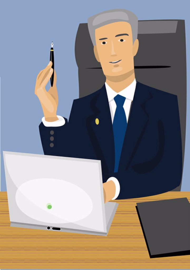 Businessman at desk with laptop : Stock Photo