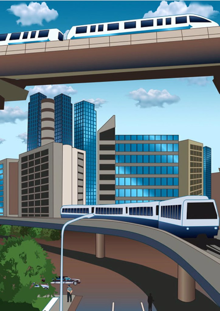 Trains on overpasses in urban landscape : Stock Photo