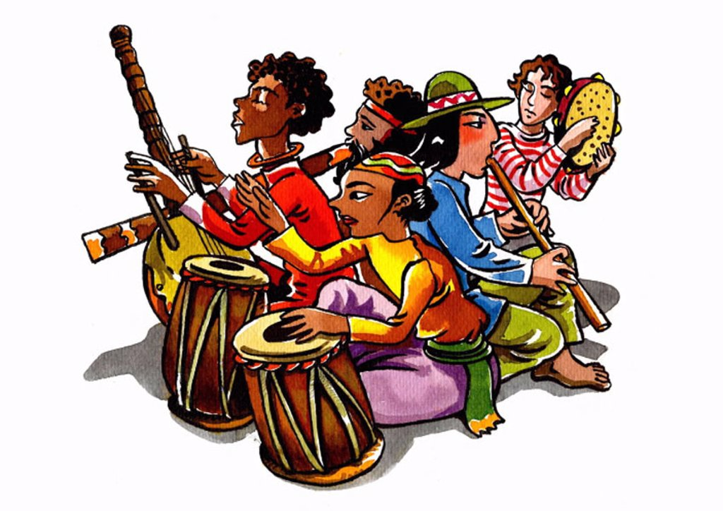 A group of musicians playing world music : Stock Photo
