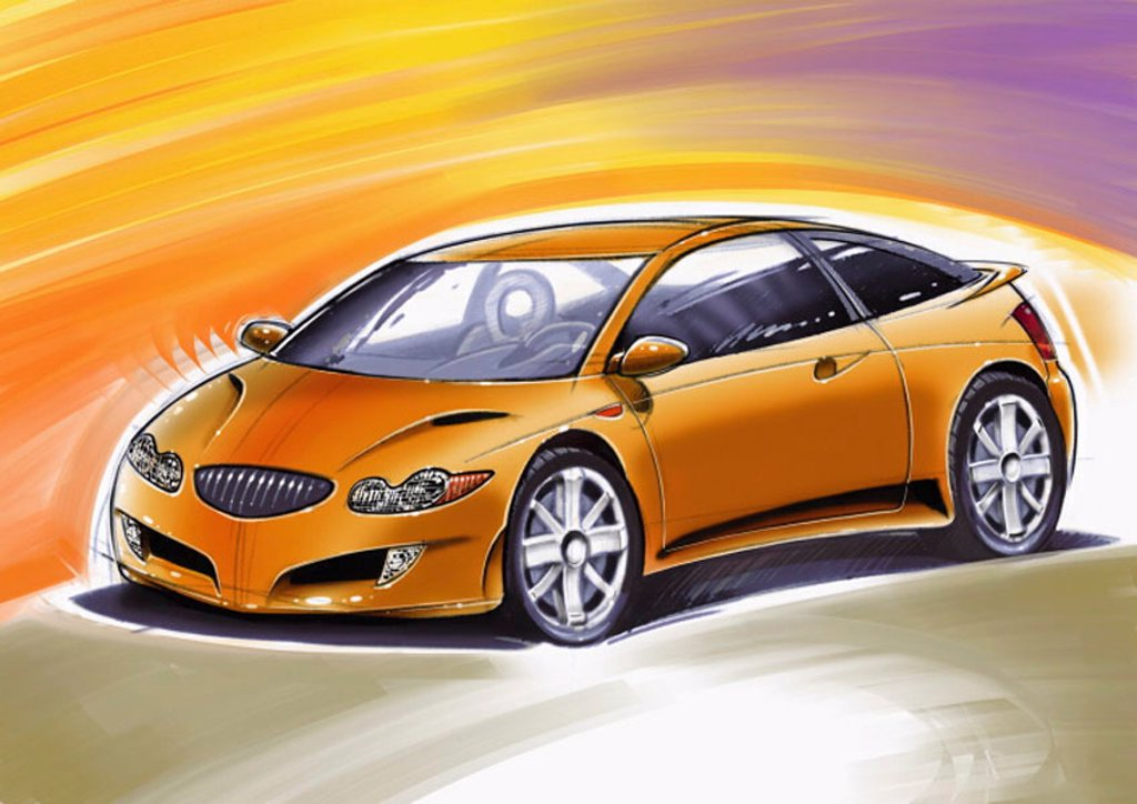 Golden orange two-door sports car with yellow and purple background : Stock Photo