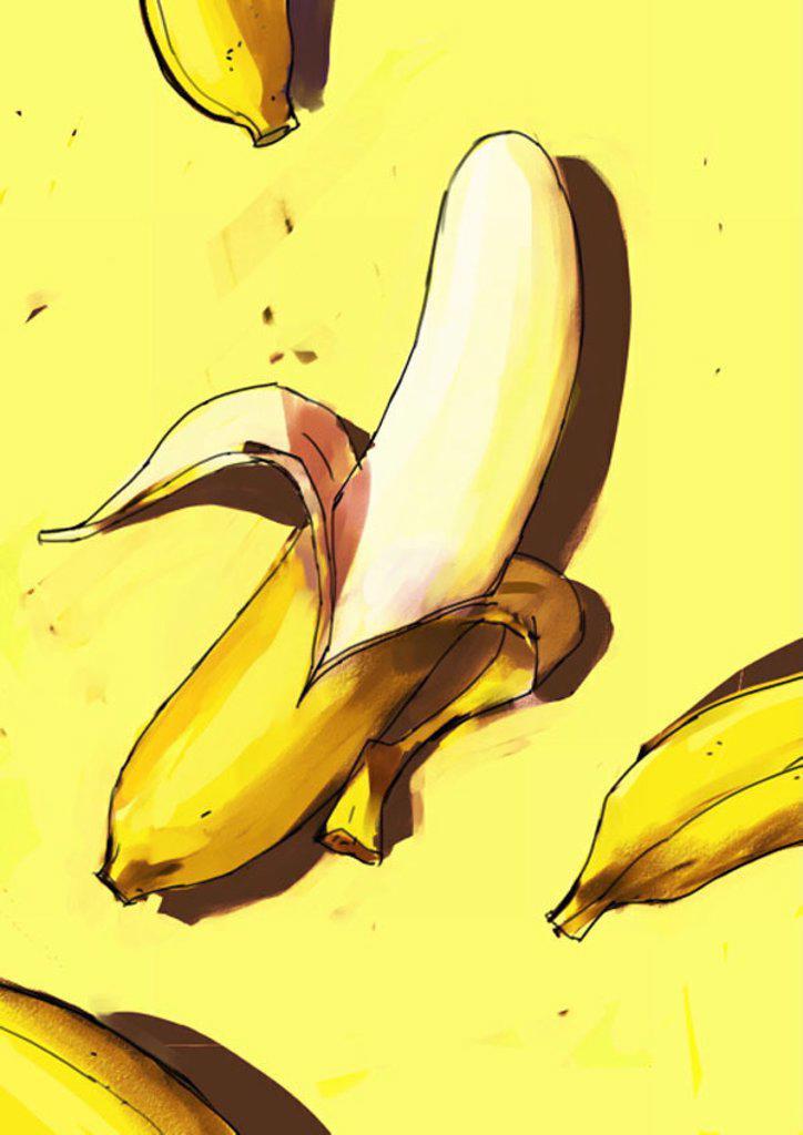 Stock Photo: 1843R-2987 A peeled banana