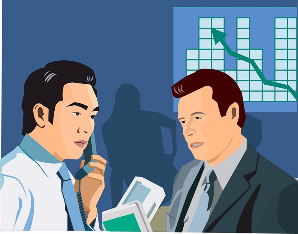 Side view of businessmen, with line graph in the background : Stock Photo