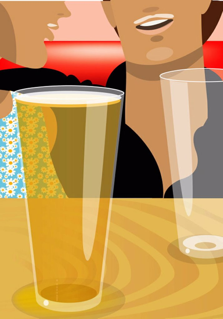 Closeup of man and woman talking over drinks : Stock Photo