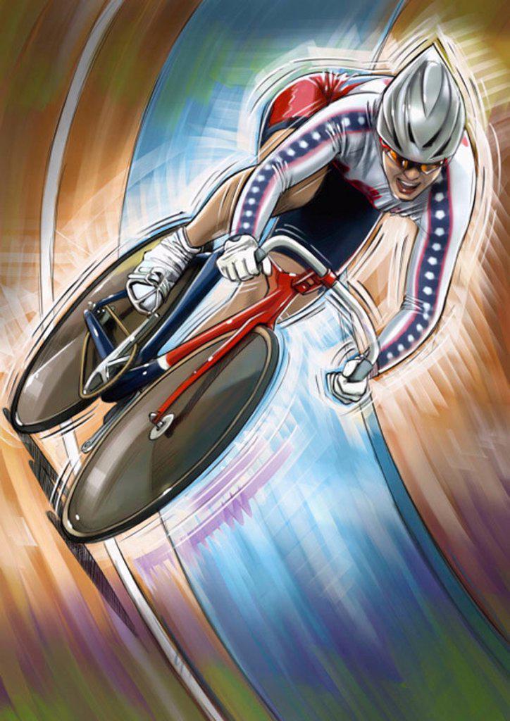 Stock Photo: 1843R-3235 Female cyclist racing