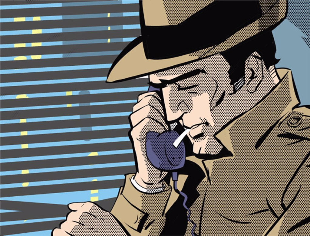 Stock Photo: 1843R-3274 Detective on the phone