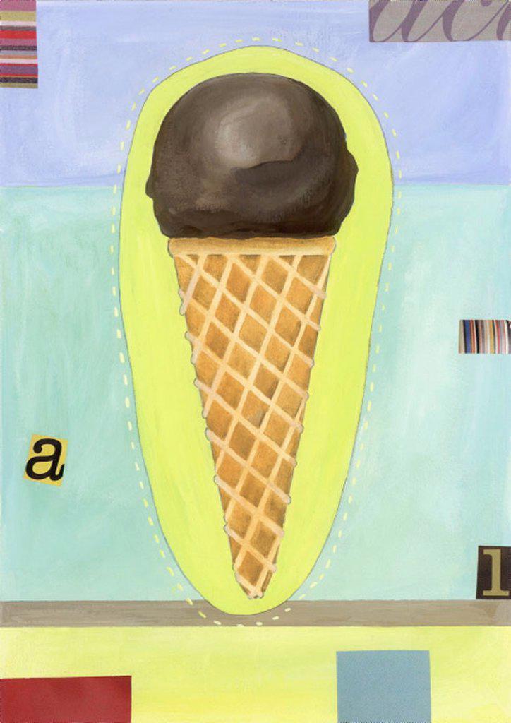 Stock Photo: 1843R-3277 A chocolate ice cream cone