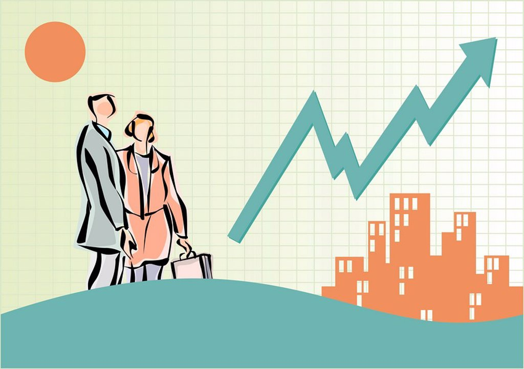 Stock Photo: 1843R-3291 Business people near buildings and line graph