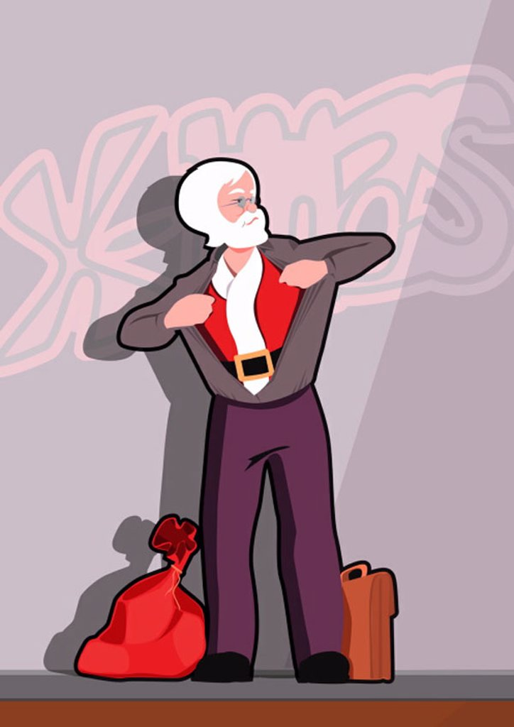Santa Claus changing into his outfit : Stock Photo