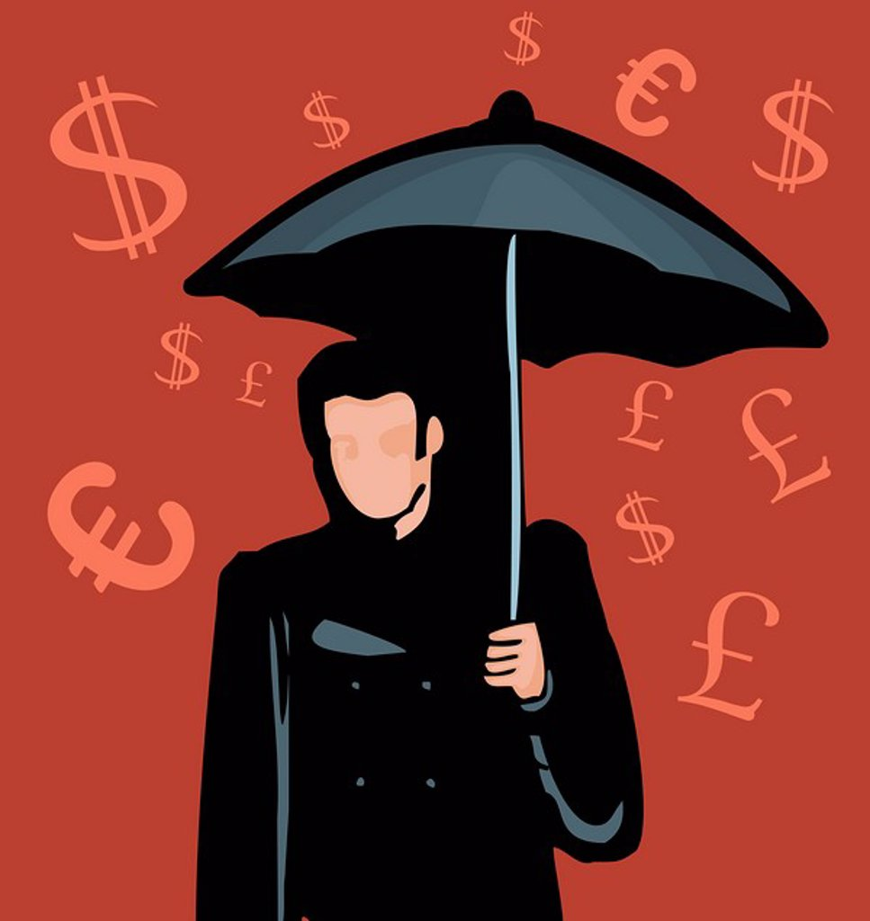 Man standing with umbrella and Currency symbols in background : Stock Photo
