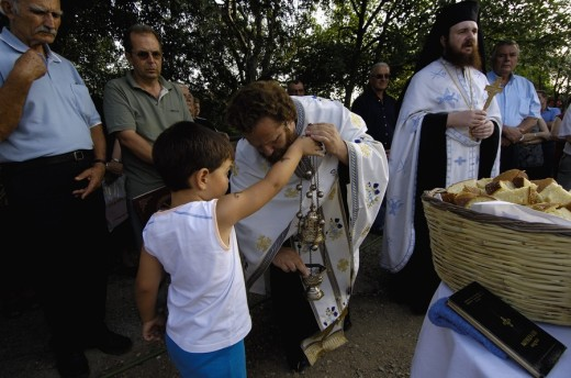 Stock Photo: 1844-1078 Orthodox mass  Prophet Ilias festival  Ambelakia village  Larissa Prefecture, Thessaly, Greece