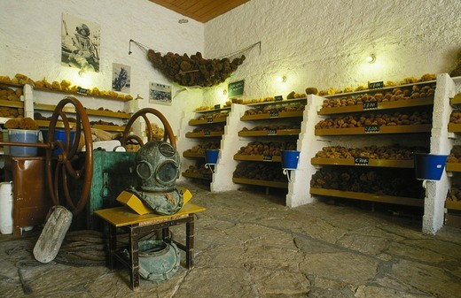 Aegean sponge center shop  Symi town , Symi island, Dodecanese, Greece : Stock Photo