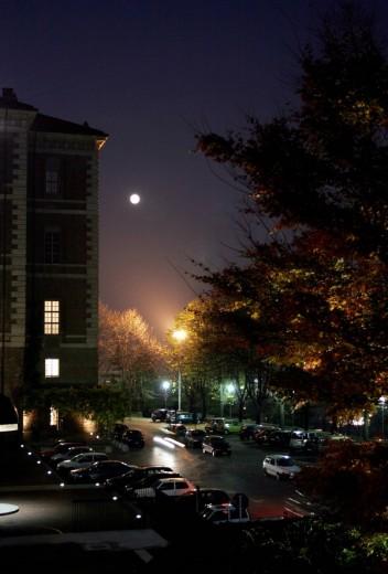 View of the Castello di Rivoli at night, Turin, Italy, Europe : Stock Photo