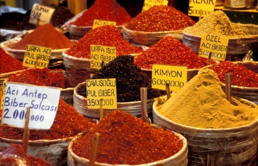 An assortment of spices at the market , Istanbul, Turkey, Middle East , : Stock Photo