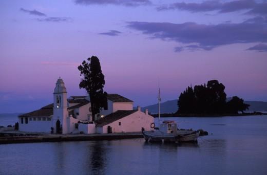 Stock Photo: 1844-1799 Kanoni Peninsula, Moni Vlachernas Corfu, Ionian Islands, Greece