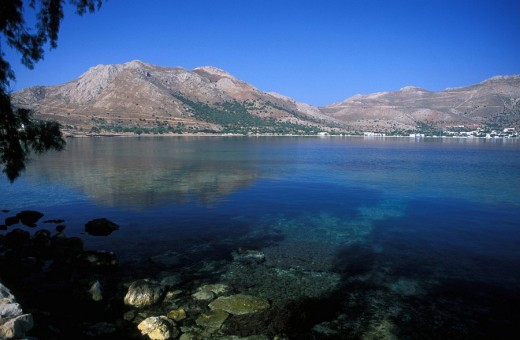 Tilos Island of the Dodecanese Livadia sea, mountains : Stock Photo