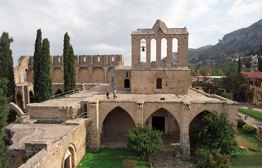 Stock Photo: 1844-3673 Bella Pais Abbey or Abbey of Peace 1198 - 1205 is a masterpiece of Gothic art, the most beautiful in the Near East  A column standing in the center of the abbey comes from an early Byzantine church The larger part of the complex was constructed during the