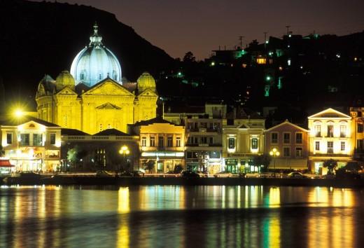 View of Saint Therapon Church , Greece: N E  Aegean, Lesvos : Stock Photo