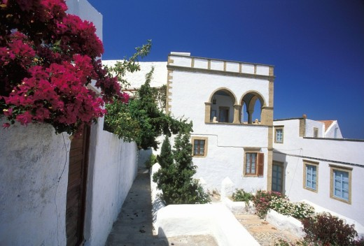 Chora, houses , Patmos, Dodecanese, Greece : Stock Photo