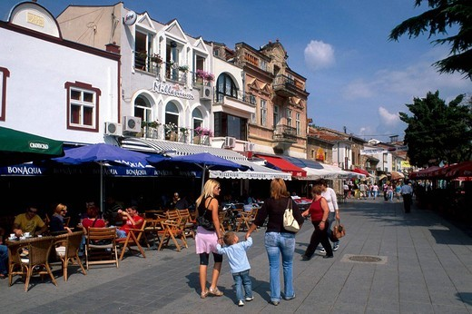 Stock Photo: 1844-3771 Ohrid, Ulica Boris Kidric, streets with cafe, Republic of Macedonia, Europe