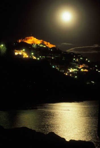 Molyvos, medieval castle view, Greece: N E  Aegean, Lesvos : Stock Photo