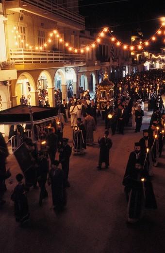 Eptanese, Zakynthos Easter,Good Friday, Epitafios procession : Stock Photo