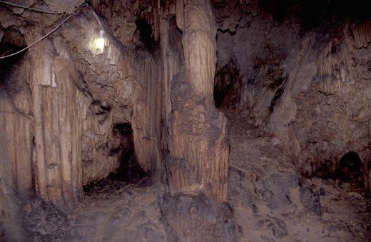 Eptanese, Kythira Mylopotamos, cave of Agia Sophia, stalactites, stalagmites : Stock Photo