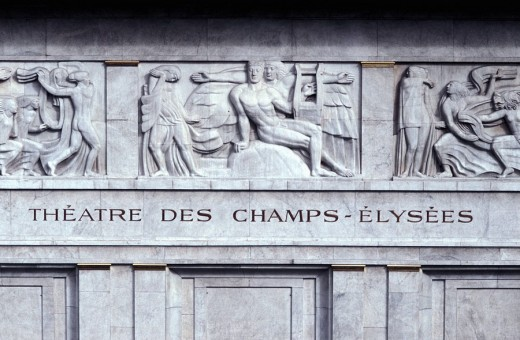 Paris: Buildings and Sculptures Champs-Elysees Theater, Montaigne Ave , detail of Fronton´s sculptures : Stock Photo