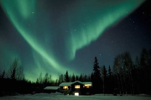 Aurora Borealis over winter scenery  Alaska, United States, North America : Stock Photo