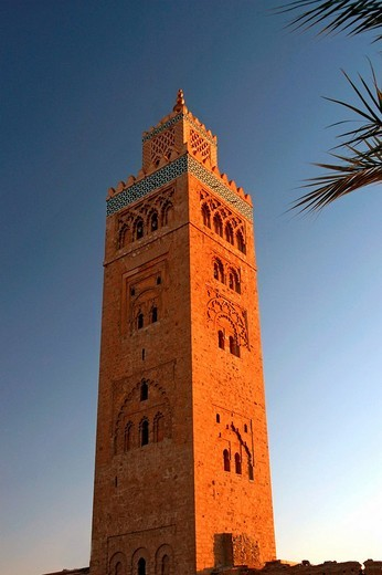 Stock Photo: 1844-5394 Koutoubia Mosque, minaret, Marrakesh, Morocco, Africa