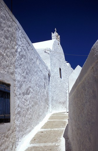 Stock Photo: 1844-5433 Hora, pedestrian street, white church  Anafi, Cyclades, Greece