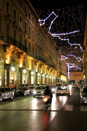 Luci d´Artista Artist´s Lights : an open-air gallery by night, with light sculptures and installations decorating streets and buildings , Via Roma, Turin, Italy, Europe : Stock Photo