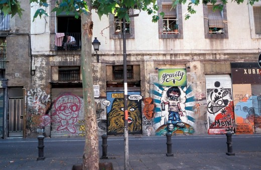 Building, graffiti, Barcelona, Spain, Europe : Stock Photo