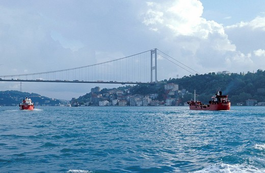 The Bosphorus and the Ataturk bridge , Istanbul, Turkey, Middle East , : Stock Photo