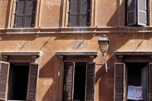 Hanging towels in window, Rome, Italy, Rome, Italy, Europe : Stock Photo