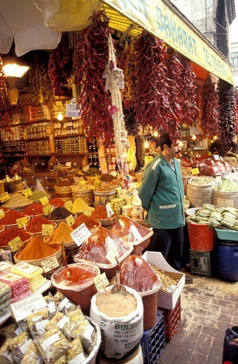 A variety of spices and hanging red peppers at the market , Istanbul, Turkey, Middle East , : Stock Photo
