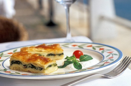 Su borek pastry with spinach at Feriye Restaurant on the Bosphorus , Istanbul, Turkey, Middle East , : Stock Photo