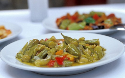 Stock Photo: 1844-5625 Okra raki meze at Refik tavern , Istanbul, Turkey, Middle East ,