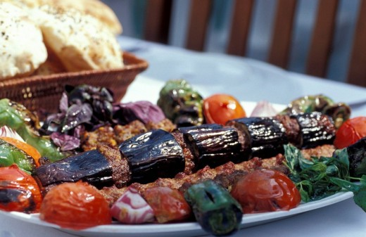 Mixed eggplant and ground meat kebab with pistachio at Hamdi Restaurant , Istanbul, Turkey, Middle East , : Stock Photo