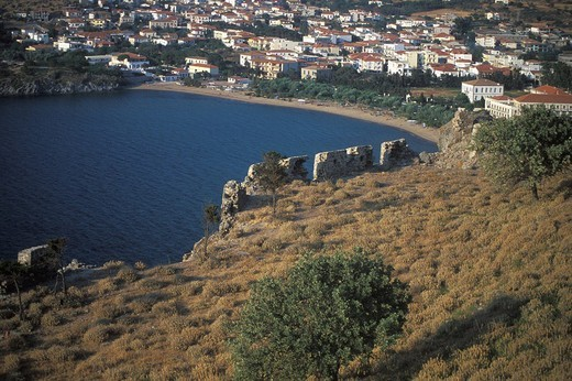 Myrina, Castle, Lemnos, Northeastern Aegean Islands, Greece : Stock Photo
