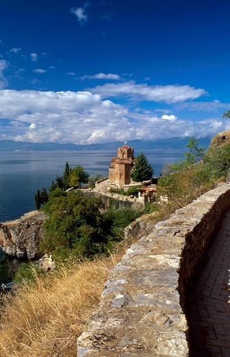 Stock Photo: 1844-5853 Ohrid, Sv Jovan Kaneo St  John the Theologician - Kaneo ,Ohrid lake, Republic of Macedonia, Europe
